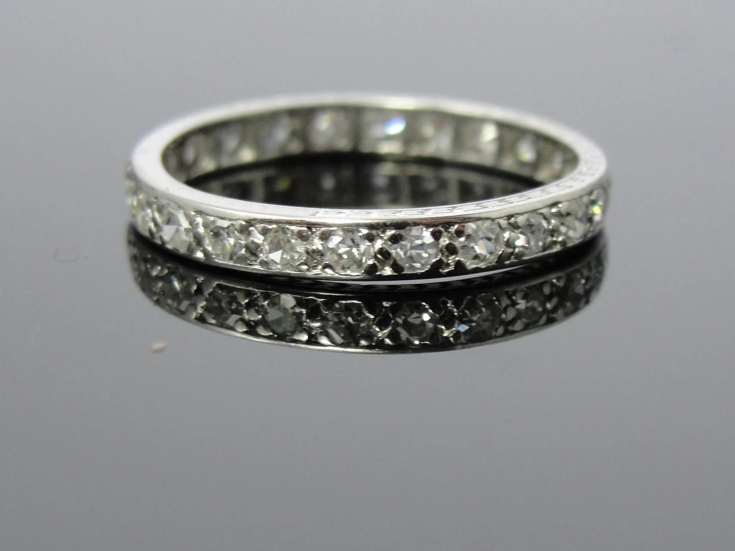 antique art deco platinum eternity art deco wedding band zoom