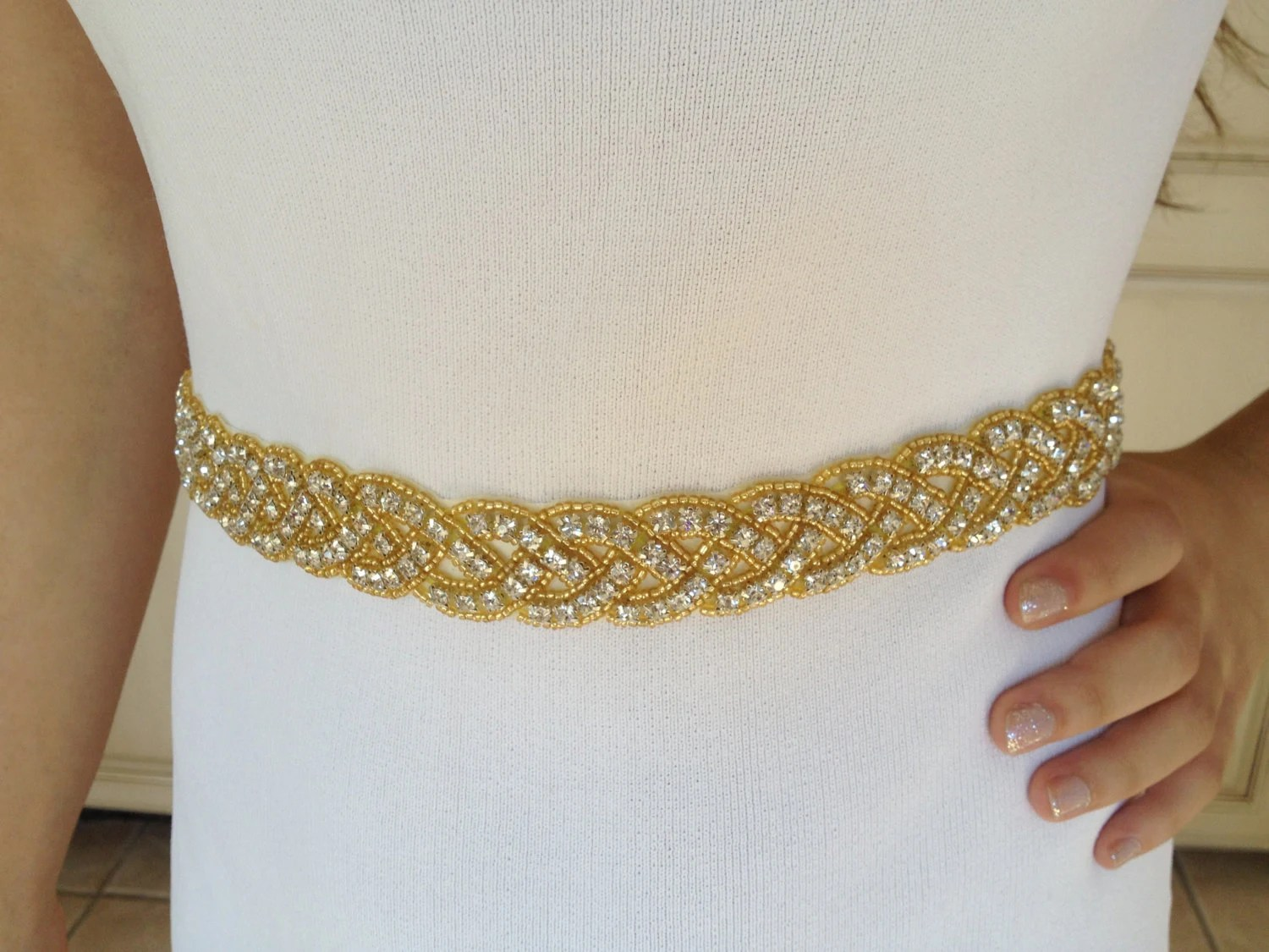 gold bridal sashwedding beaded wedding sash zoom