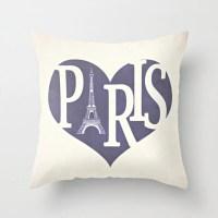 Paris Pillow Cover Purple Pillow Eiffel Tower Pillow Heart