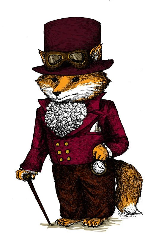 Ikea Poster Frame Steampunk Fox Art Print Top Hat Nursery Print Brown Orange