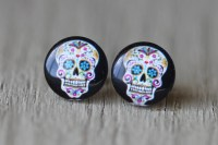 Sugar Skull Earrings : Skeleton Candy Skull Stud by ...