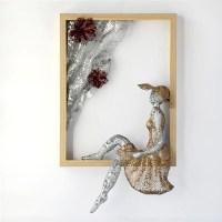 Metal wall art Framed art women sculpture Home decor