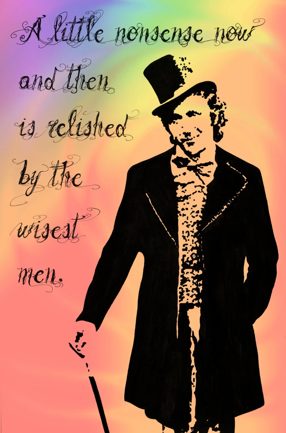 Roald Dahl Quotes Wallpaper Print Willy Wonka