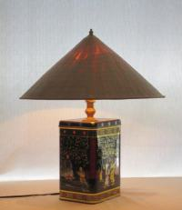 Fortune Cookie tin table lamp with straw hat shade by ...