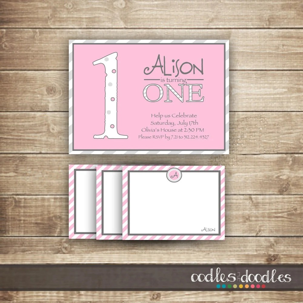 1st Birthday Invitation  Personalized Note Card / Thank You Card