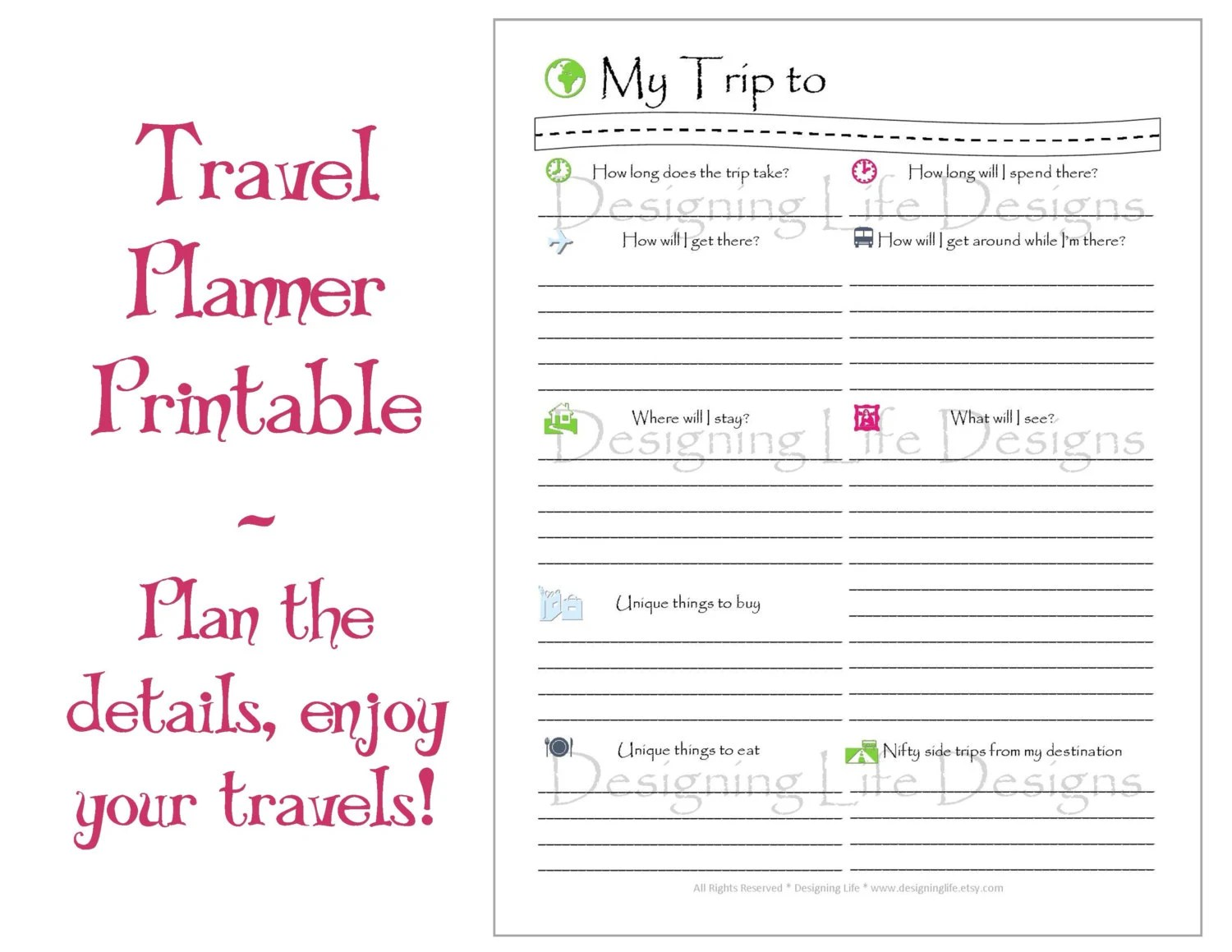 Vacation Travel Planner Printable PDF Sheets My Trip To