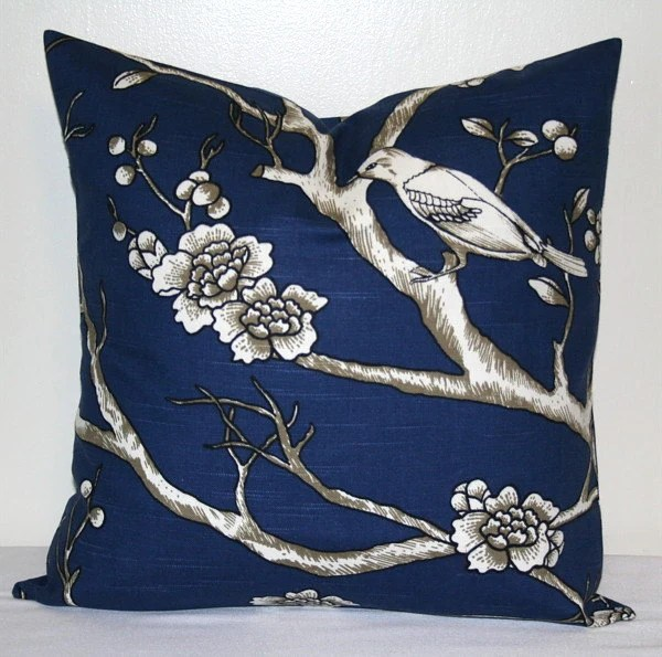 Navy Blue And White Pillow Cover 18 Inch Robert Allen Vintage