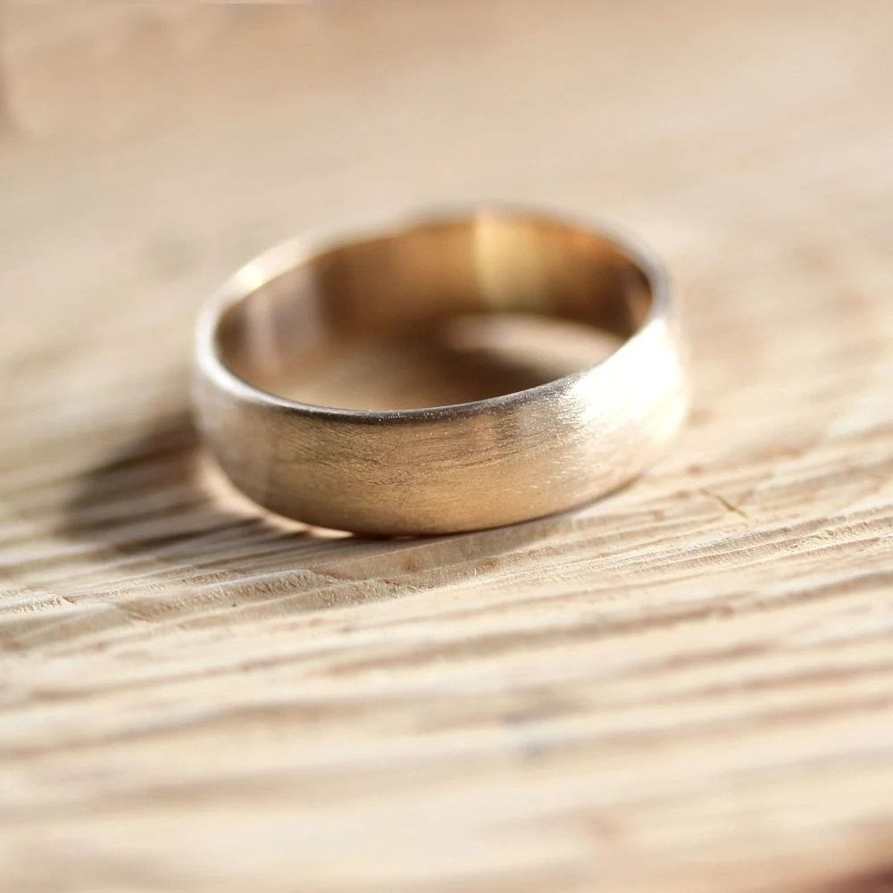 wide mens gold wedding band recycled 10k brushed gold wedding band zoom