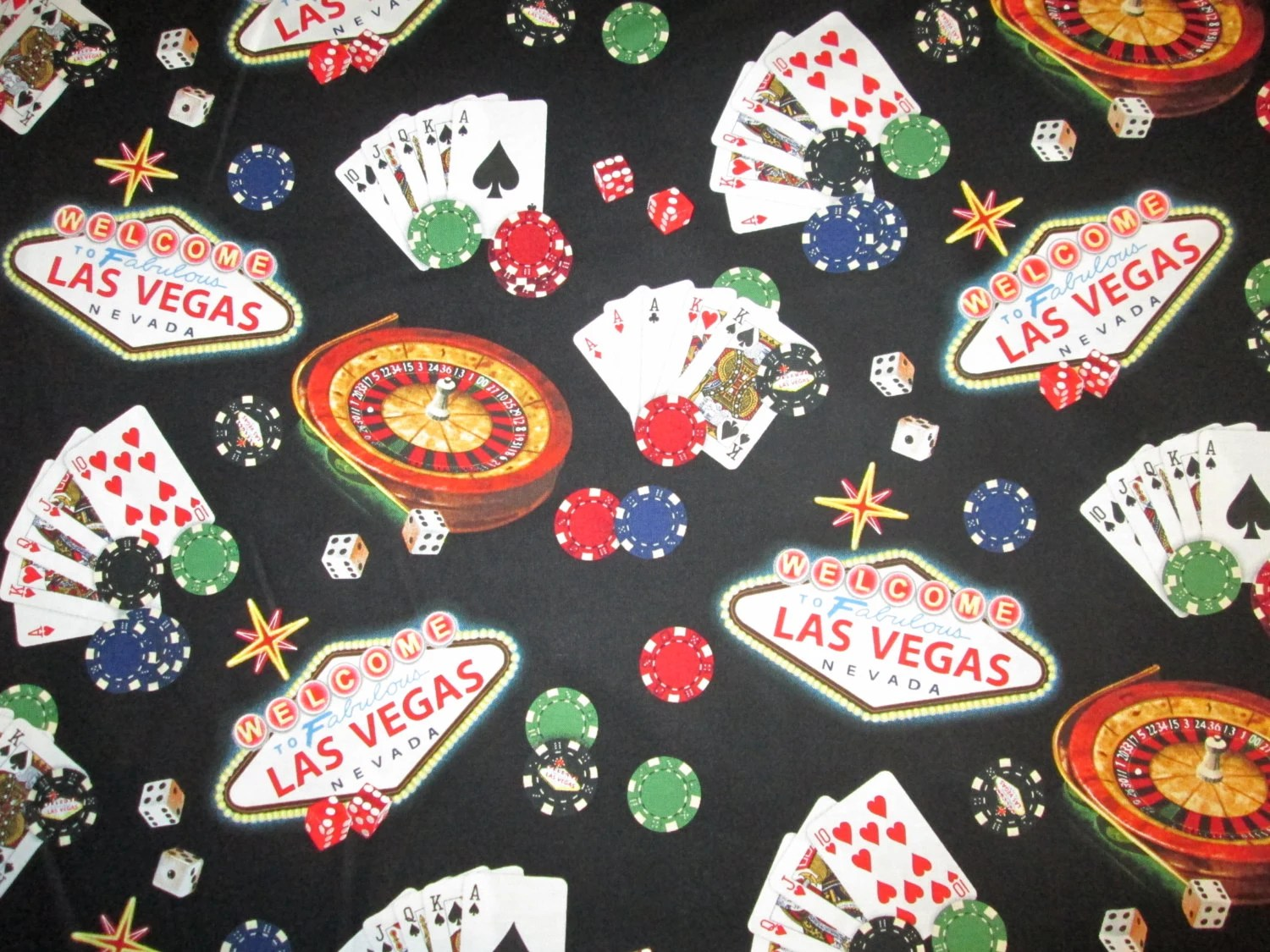 Dominoes Falling Wallpaper Las Vegas Sign Roulette Dice Poker Chips Cards Cotton Fabric