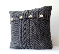 Hand knitted gray pillow cover cable hand knit decorative