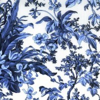 SAVOY large print white background with French Blue Floral