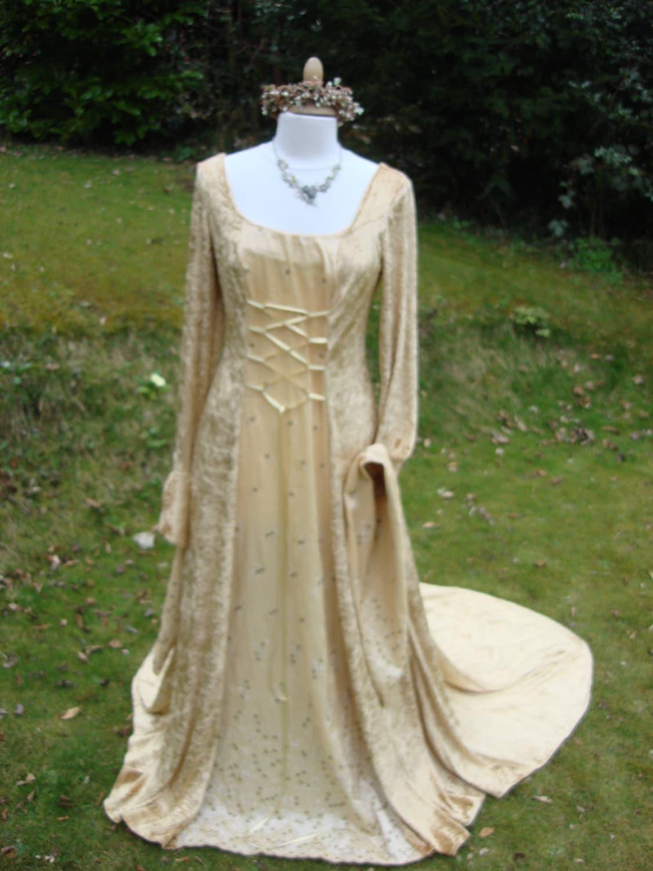 celtic+pagan+wedding+dresses pagan wedding dresses Celtic Wedding Gown Medieval Lotr Pagan Celtic Bespoke Gold Celtic Fairy