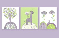 Green and Purple Nursery Nursery Wall Art by
