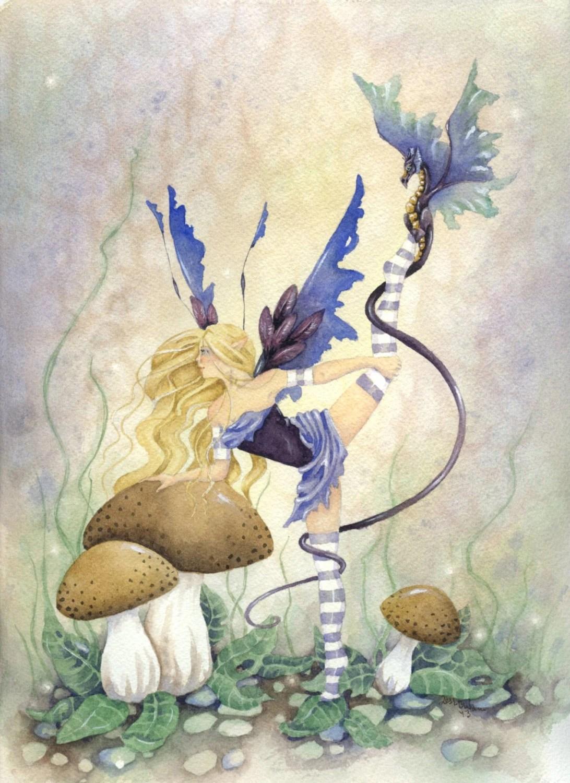 Fall Woodland Creatures Wallpaper Items Similar To Fairy Art Original Watercolor Painting