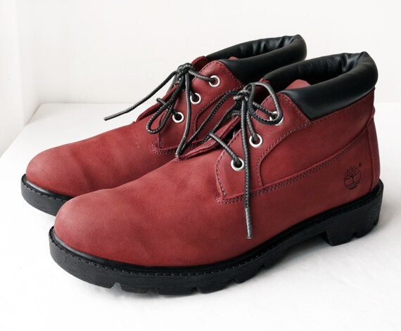 Vintage Timberland Red Waterproof Nubuck Leather Lace Up Ankle