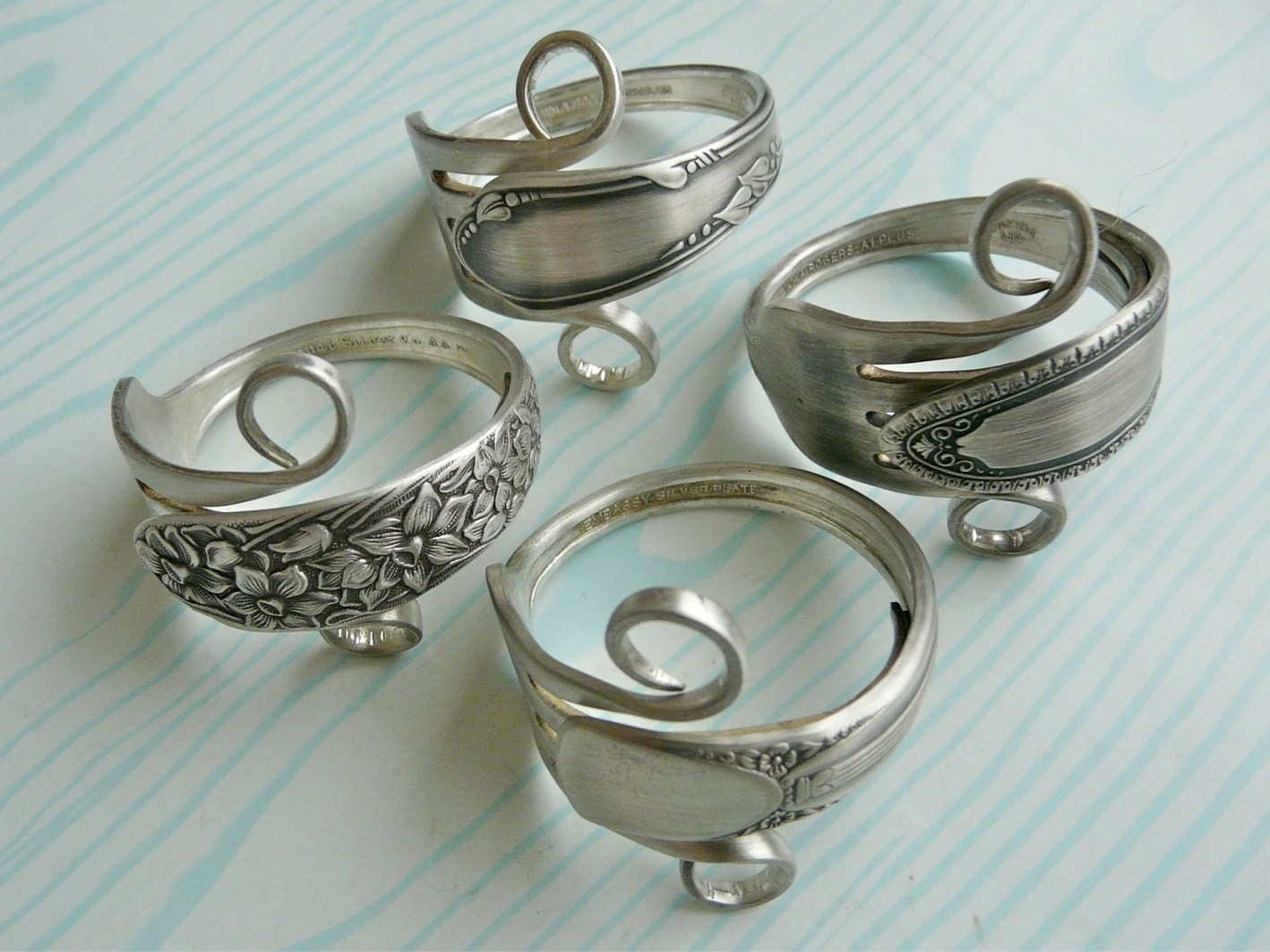 Besteck Schmuck Selber Machen Silverware Napkin Rings Antique Silver Forks Set Of 4 By