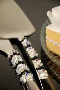 Black and white wedding cake serving set Swarovski crystal