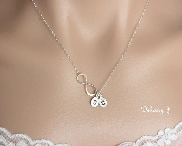 Personalized Infinity Necklace Initial Necklace Two Initials