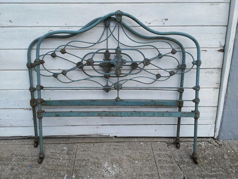Blue antique cast iron bed frame reserved
