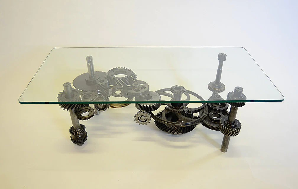 Coffee Table: Industrial Gears Steampunk Sculptural Table