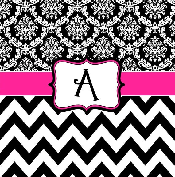 Cute Wallpapers First Initial Letter A Damask And Chevron Hot Pink Black And White Personalized