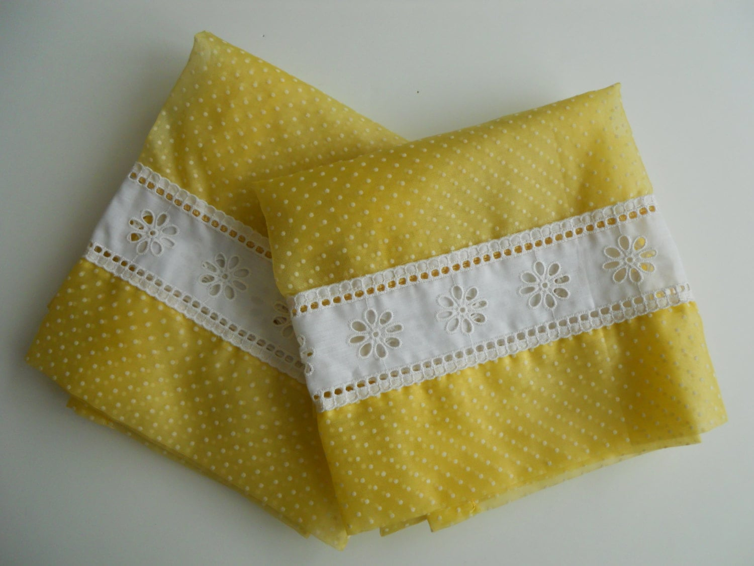 Kitchen Curtains For Yellow Walls Yellow Dotted Swiss Kitchen Curtains With Valence 4 Panels