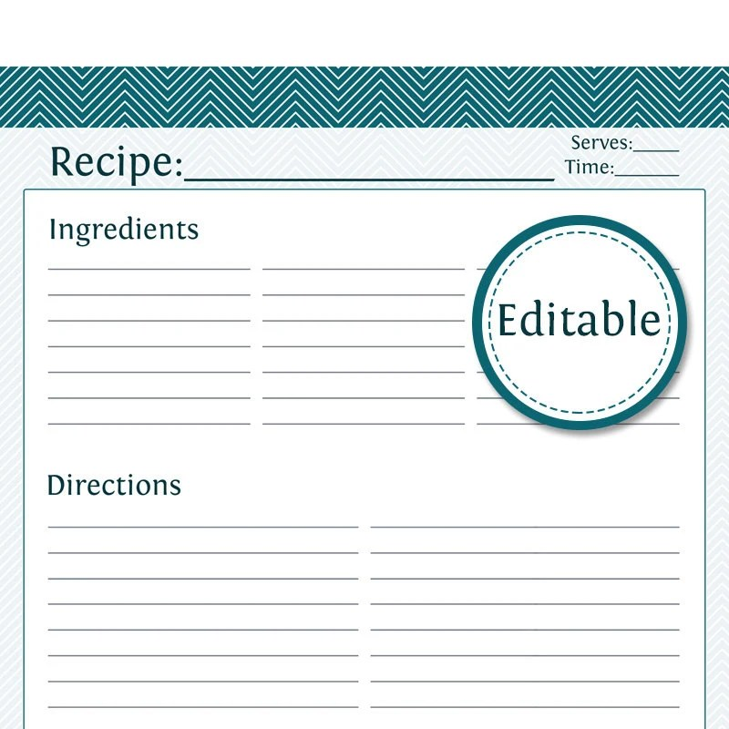 Recipe Card Full Page Fillable Printable PDF Instant - recipe card