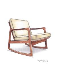 Mid Century Modern Danish Teak Chair Drawing Natural Linen
