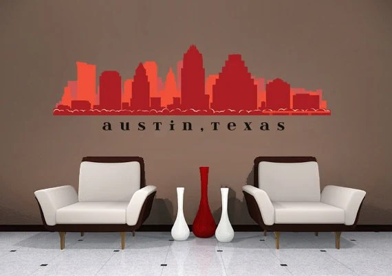 Austin Texas Skyline Wall Decal Art Fabric Repositionable And