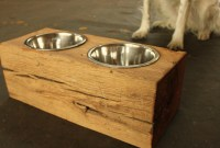 Wood Dog Dish Holder reclaimed barn beam 2 BOWL by ...