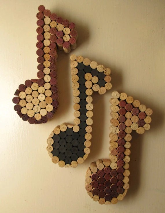 Cuadros De Corcho Wine Cork Music Note Only Natural And Wine Colors Available