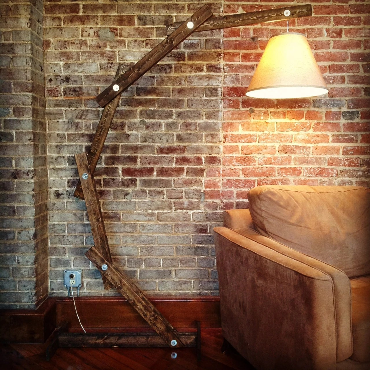 How To Build A Floor Lamp Rustic Wood Arc Floor Lamp By Awalkthroughthewoods On Etsy