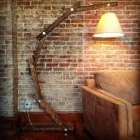 Rustic Wood Arc Floor Lamp  by AWalkThroughTheWoods on Etsy