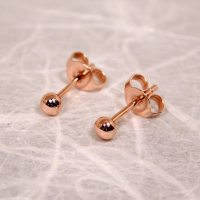 Romantic Rose Gold Ball Earrings 3mm Gold Earrings Tiny ...