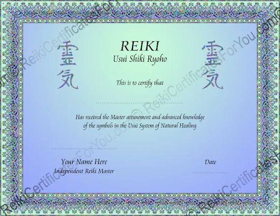 reiki certificate templates