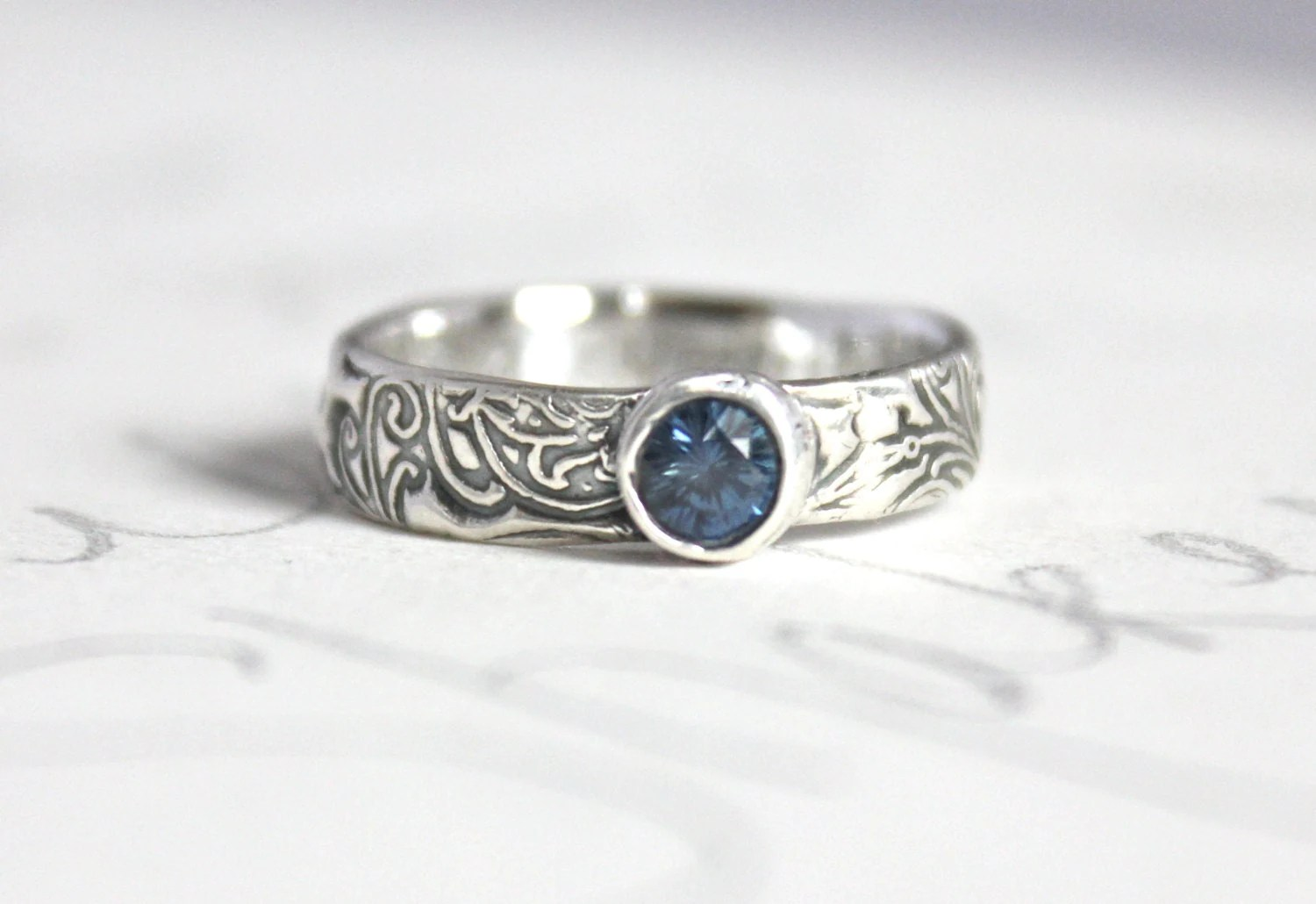 blue sapphire scroll engagement ring silver wedding rings zoom