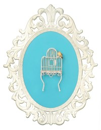 Birdcage with Bird Victorian Framed Object Wall Art Decor