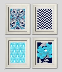 Items similar to Set of Four Modern Vintage Turquoise/Navy ...