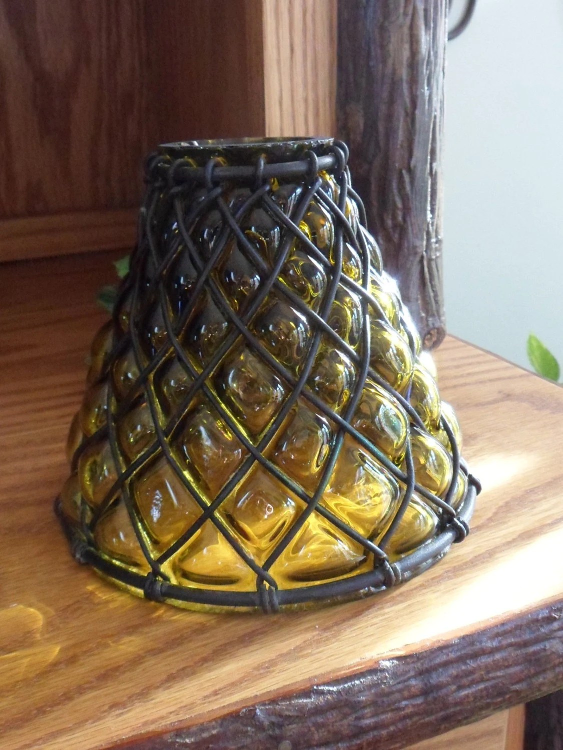 Hand Blown Glass Wrought Iron Lamp Shade Amber By - Hand Blown Glass Lamp