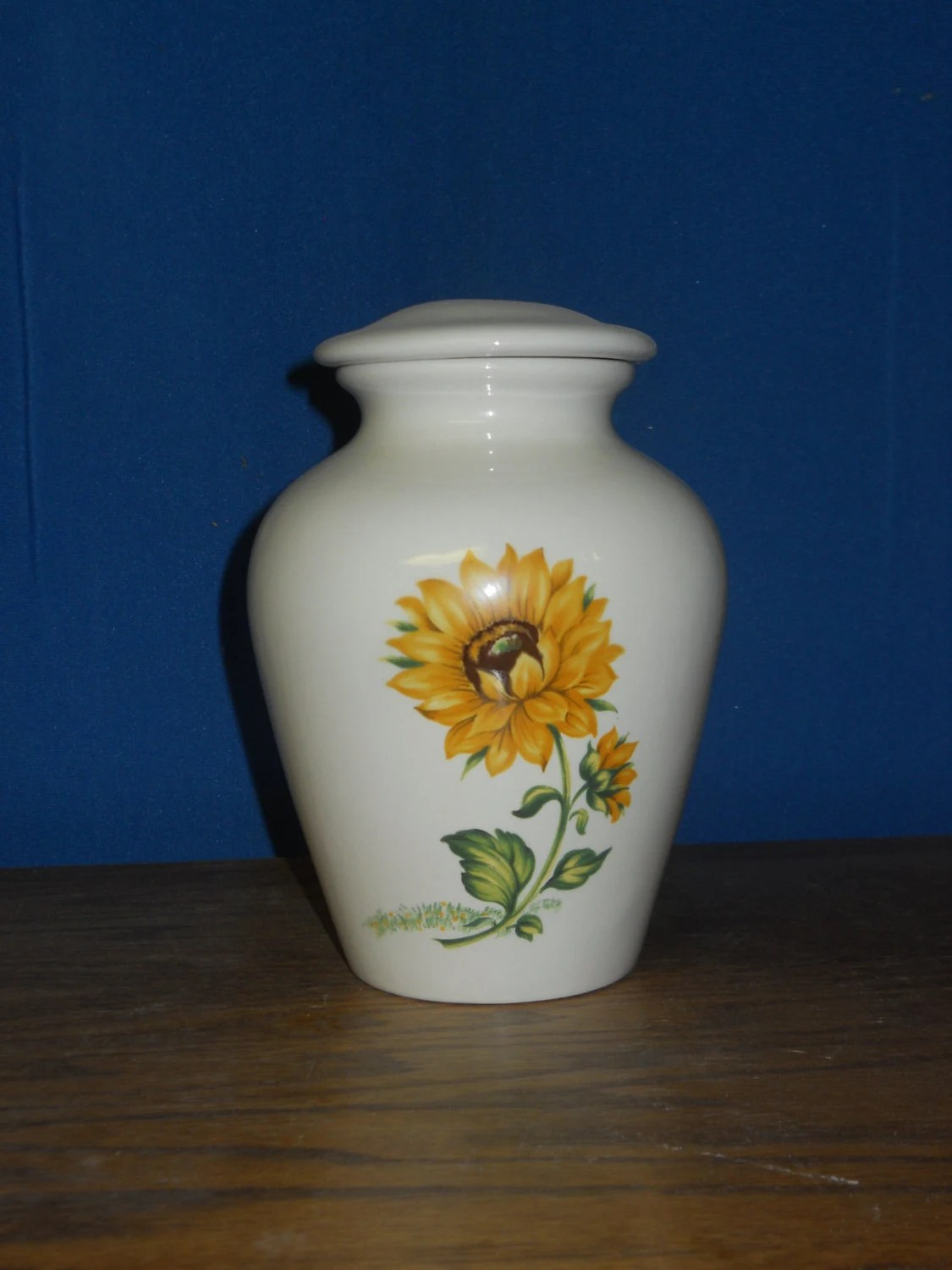 Small Ceramic Jars With Lids Small Ceramic Cremation Urn Yellow Sunflower Jar With Lid