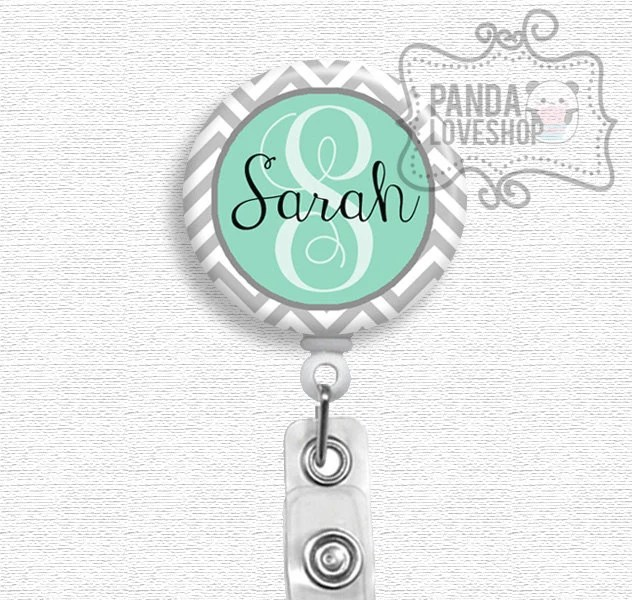 Custom Badge Holder Personalized Name Gray Chevron And Mint