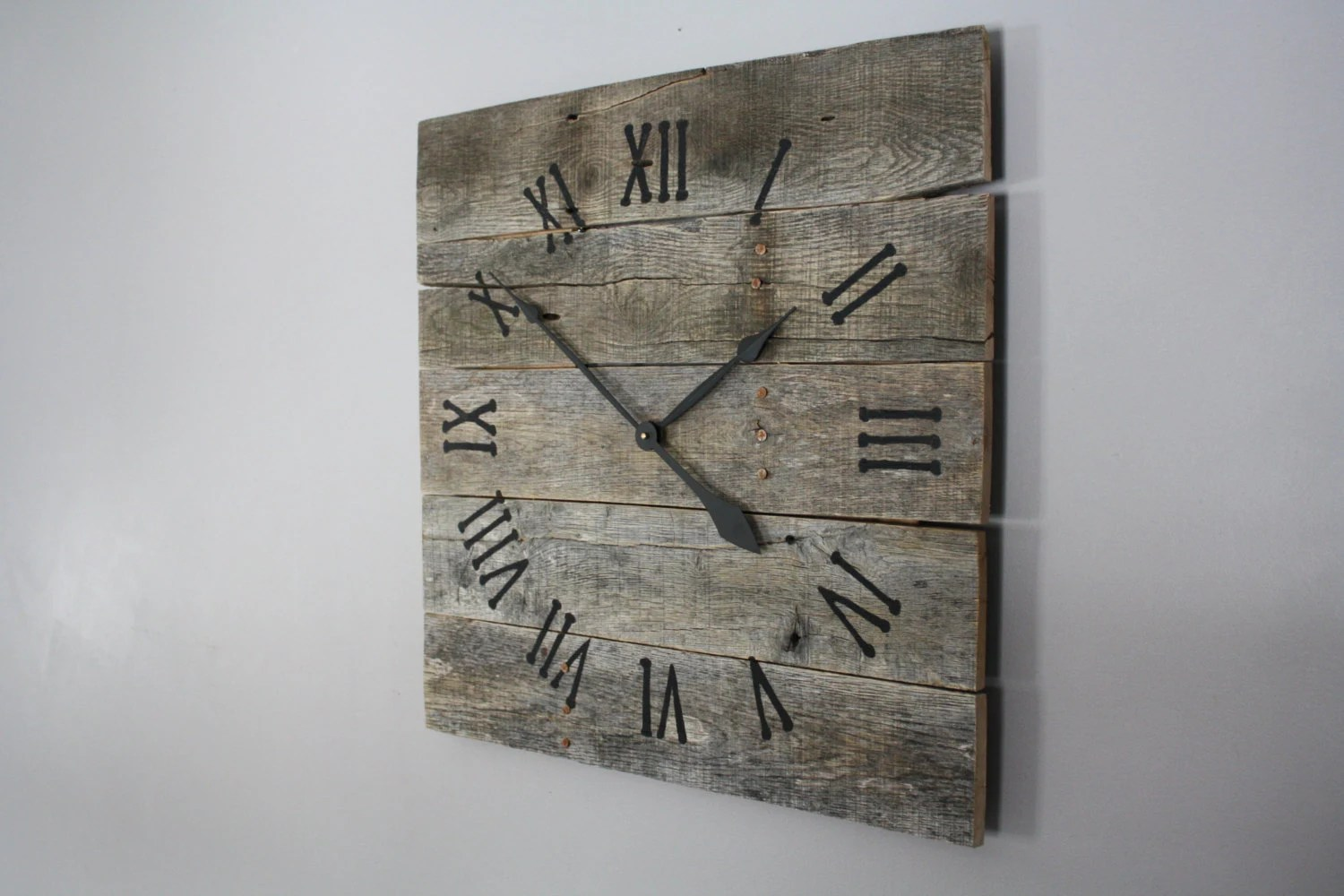 Large Wooden Clock Large Rustic Wall Clock Gray Washed Color Washed Raw Wood