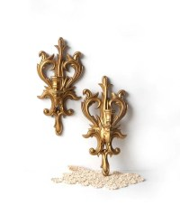 Pair Vintage Gold Candle Wall Sconces Plastic Candle Holders