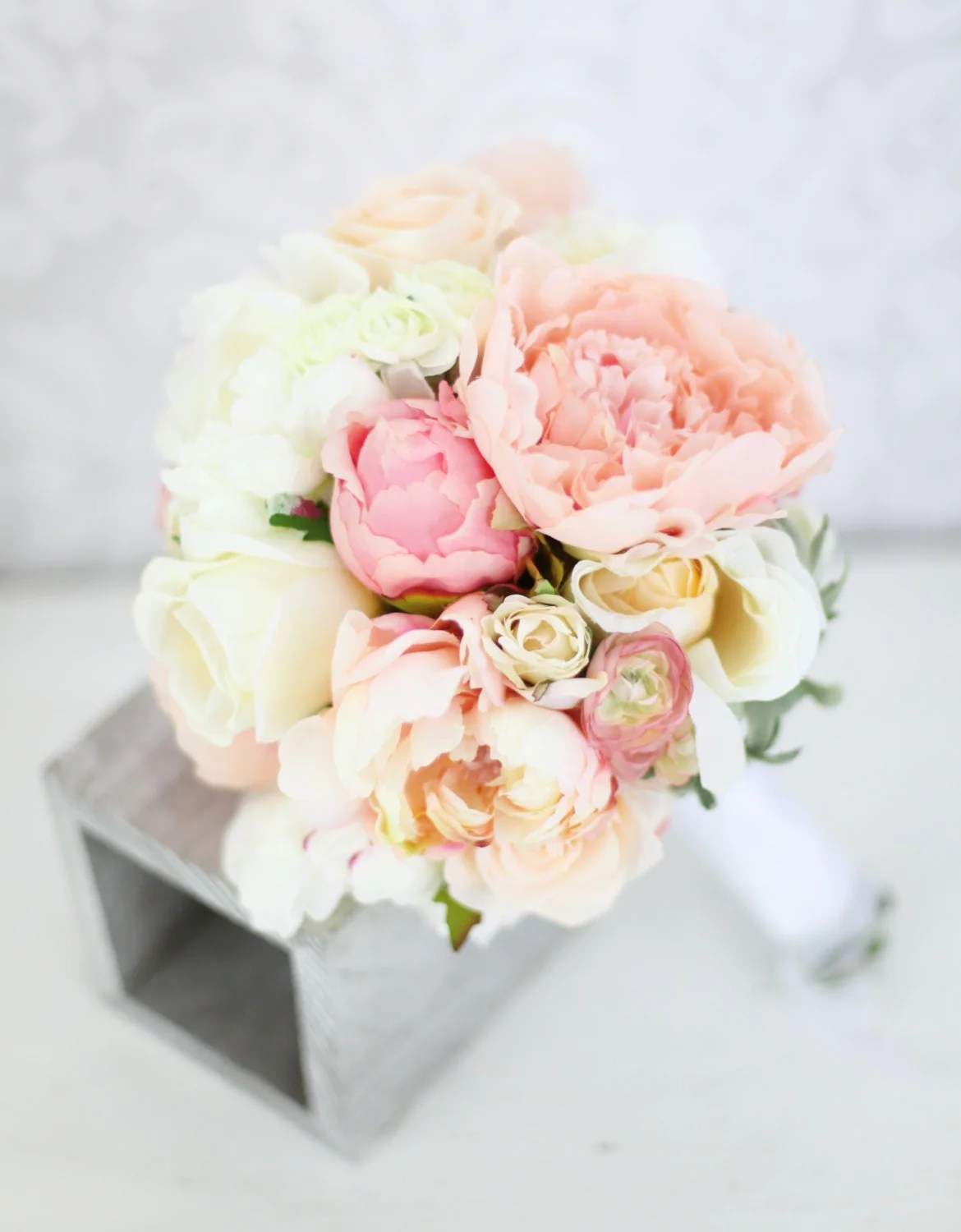 Peony Love Quote Wallpaper Silk Bride Bouquet Peony Flowers Pink Peach Cream By