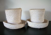Set of 2 White Wicker Straw Top Hat Lamp Shades
