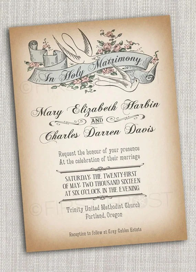 Vintage Style Printable Wedding Invitation - Bridal Announcement