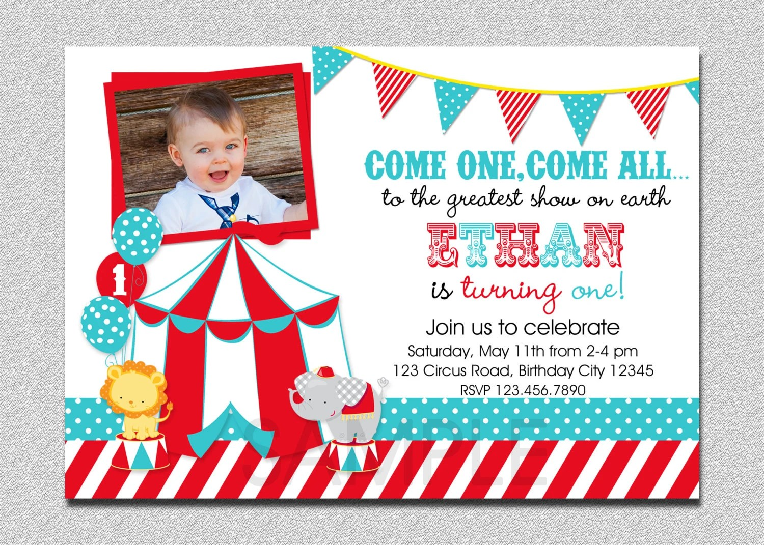 Circus Birthday Invitation, 1st Birthday Circus Party Invitation - Circus Party Invitation