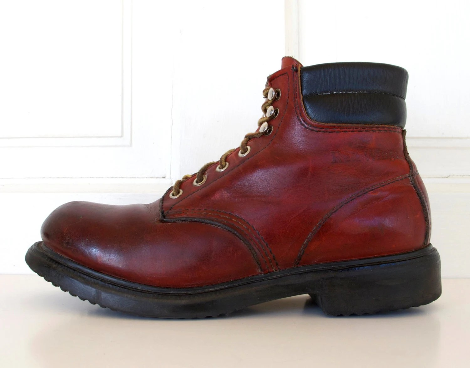 Men39s Red Wing Steel Toe Leather Work Boots Lace Up