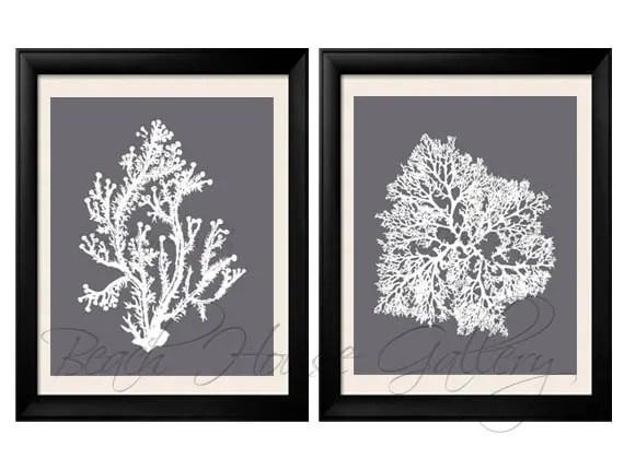 Gray Coral Wall Art Cool Grey Coral Print Grey White Wall