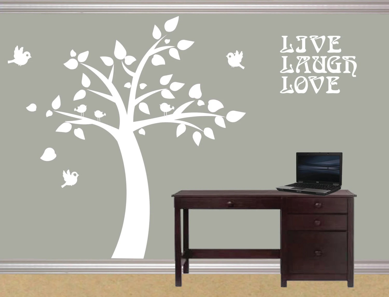 Modern Vinyl Wall Art Modern Wall Decal Modern Cute Room Tree Wall Sticker